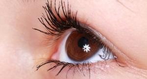 Braunes Auge einer jungen Frau
