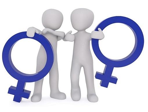 Zwei Figuren halten beide jeweils das Zeichen für Weiblich. Frau versohlt Frau.