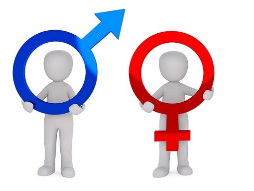 Zwei Figuren halten die Zeichen für Männlich und Weiblich. Mann versohlt Frau.