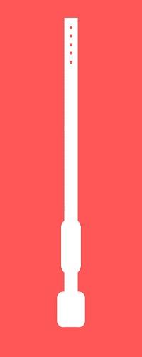 Weißer Umriss eines Gürtels vor einem roten Hintergrund.