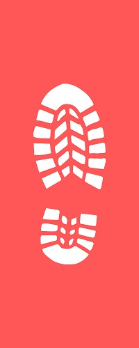 Weißer Schuhabdruck auf einem roten Hintergrund.