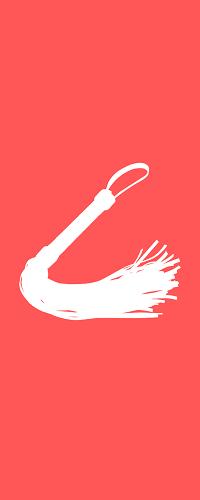 Weißer Umriss einer Peitsche vor einem roten Hintergrund.