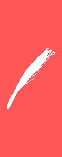Weißer Umriss einer Rute vor einem roten Hintergrund.