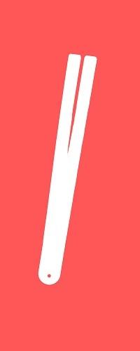 Weißer Umriss einer Tawse vor einem roten Hintergrund.