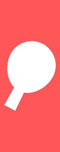 Weißer Umriss eines Tischtennisschlägers vor einem roten Hintergrund.