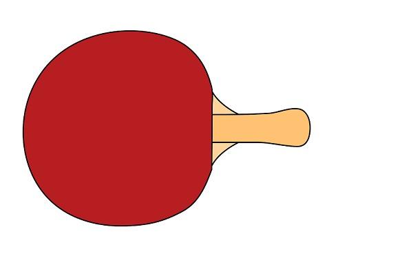 Tischtennisschläger mit roter Seite vor einem weißen Hintergrund.